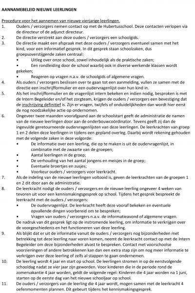 Aannamebeleid nieuwe leerlingen 2017 Hubertus